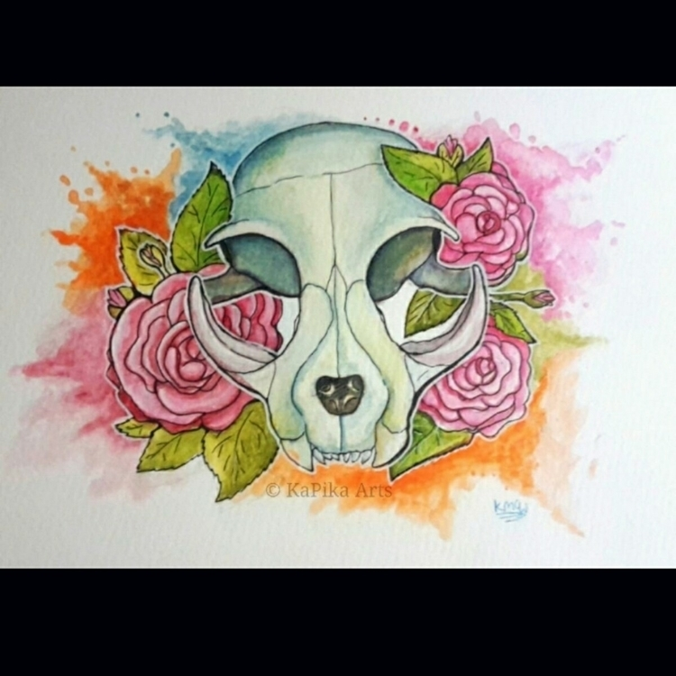 Watercolor Splash Cat Skull Ros - kapika_arts | ello