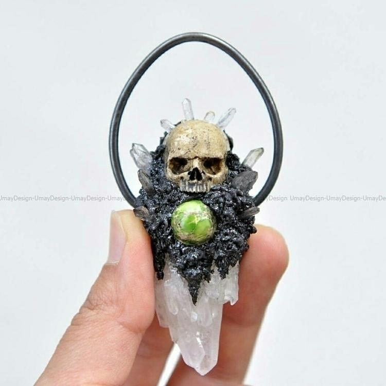 Hand Sculpted Skull Series Pend - gothicimaginations   ello