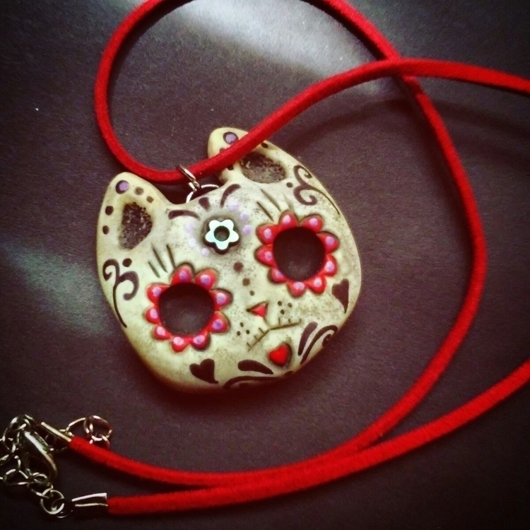 sugar skull cat leather cord. c - themoonbeams | ello