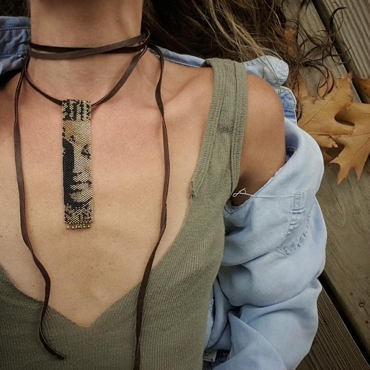 Peyote stitched Buddha Choker - boho - initiallybad | ello