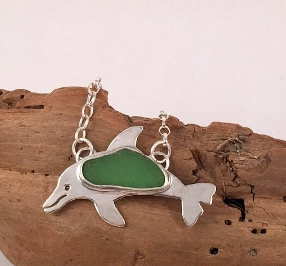 sea glass dolphin pendant  - seaglass - twistedhillstudio | ello