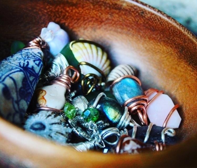 bowl full gems  - labradorite, seashell - mermaidtearshawaii | ello