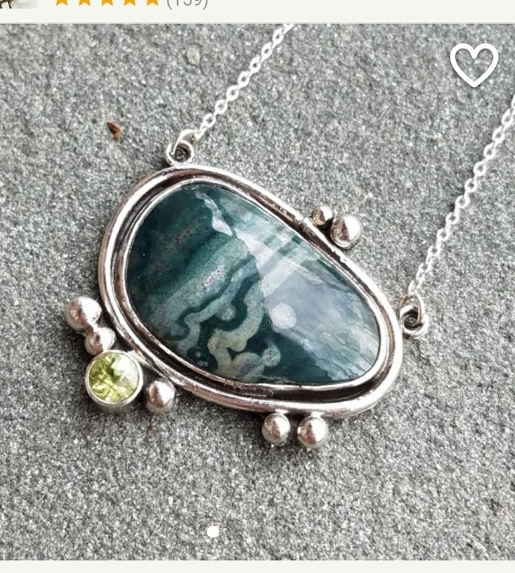 ocean jasper, peridot pendant p - chicmetal | ello