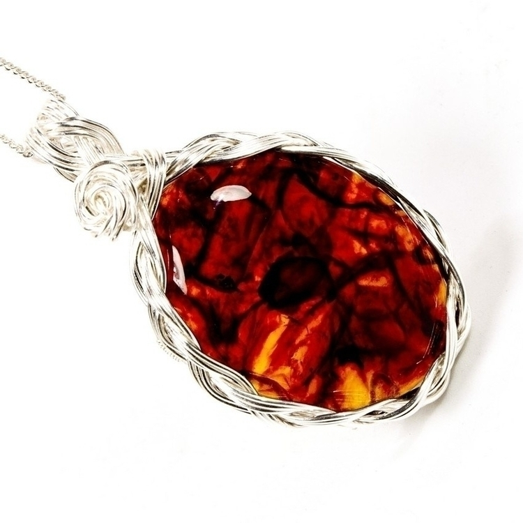 Amber necklace Silver - gemstone - owlsnestdesignstudio | ello