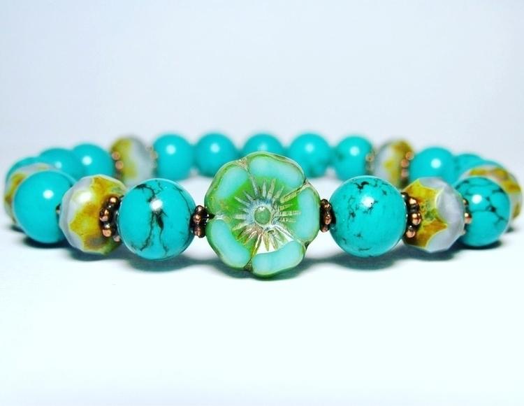 Turquoise Czech Flower Bracelet - lampjewellery | ello