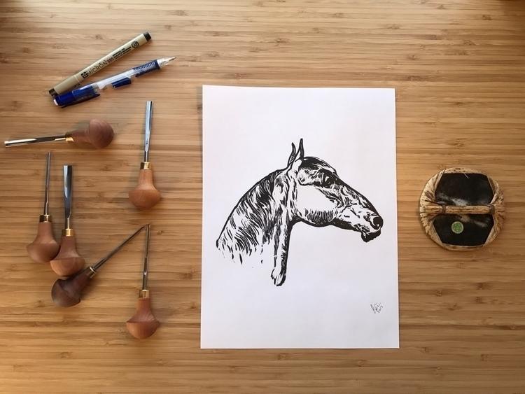Horse print - horse, art, artprint - joshuatreeprintpress   ello