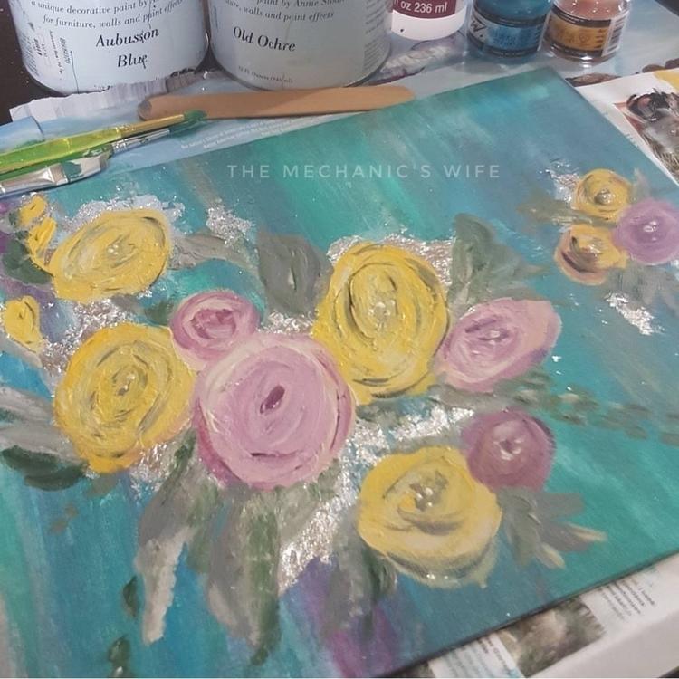 paint day - art, roses, summer, pink - themechanicswife | ello