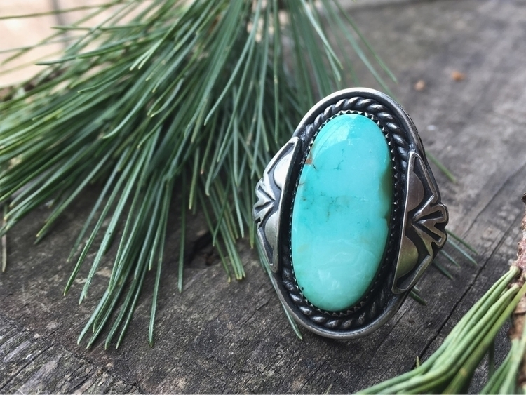 Royston Turquoise Ring hand sta - adornedsmithingco | ello