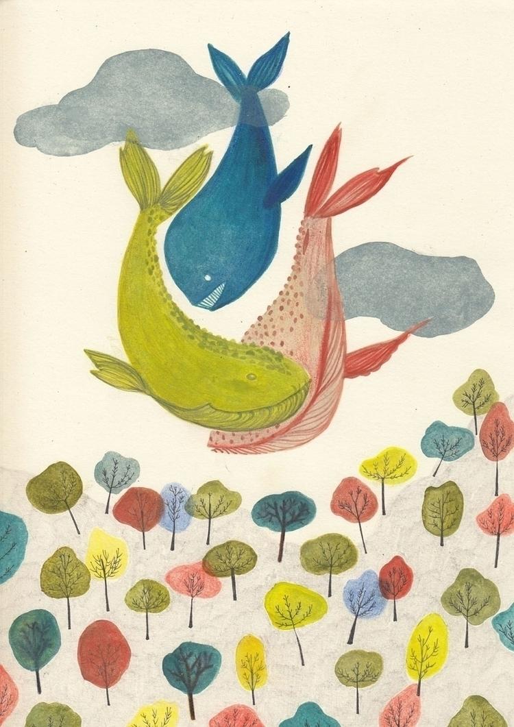 raining whales - illustration, mixedmedia - spoto | ello