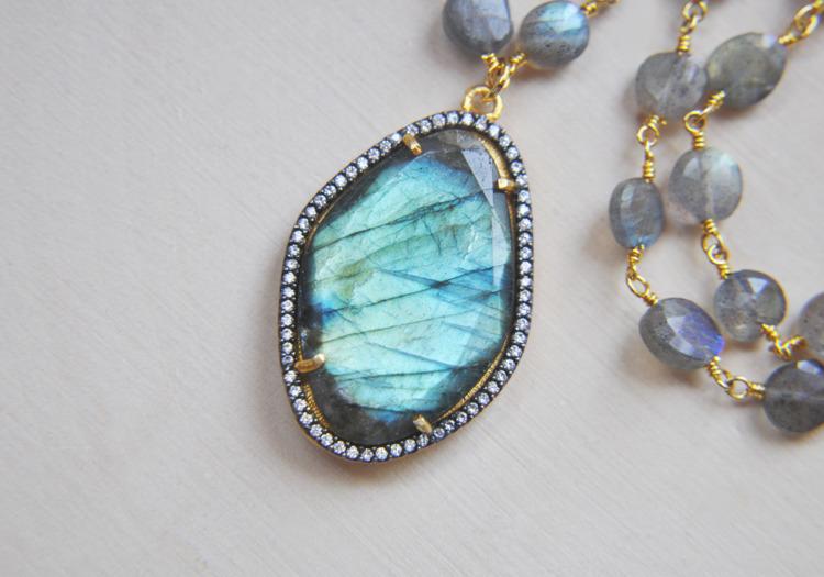labradorite, necklace, crystals - fawinginlove | ello