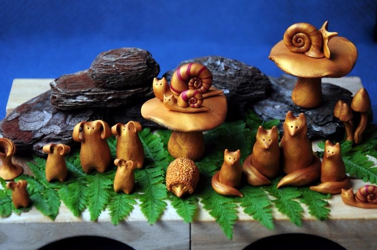 Woodland creatures - miniature, sculpture - moonlight_cat_dreams | ello