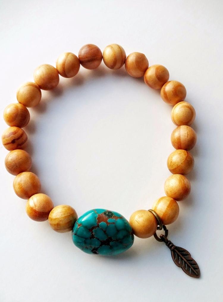 turquoise, sandalwood, yogabracelet - namasterabbit | ello