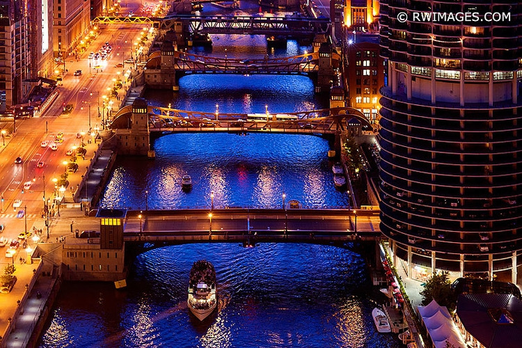 CHICAGO RIVER BRIDGES NIGHT DOW - rwi | ello