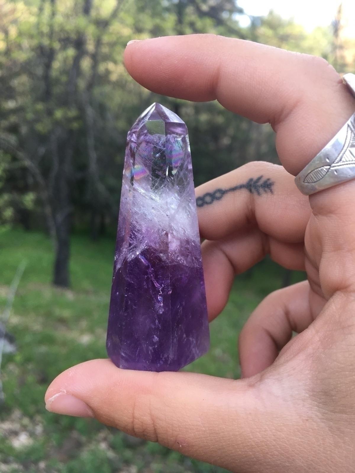 Rainbow filled Amethyst crystal - belovedminerals | ello