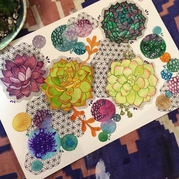 Sacred Succulents - art, succulents - vesicadesigns | ello