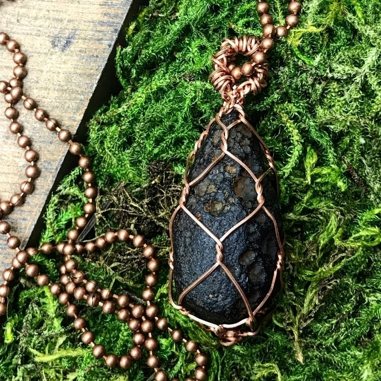 pendant! Tektite wrapped copper - twistedleafstudio | ello