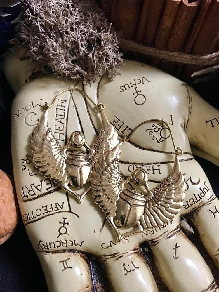 Egyptian scarab hoops brass exo - thewitchescaravan | ello