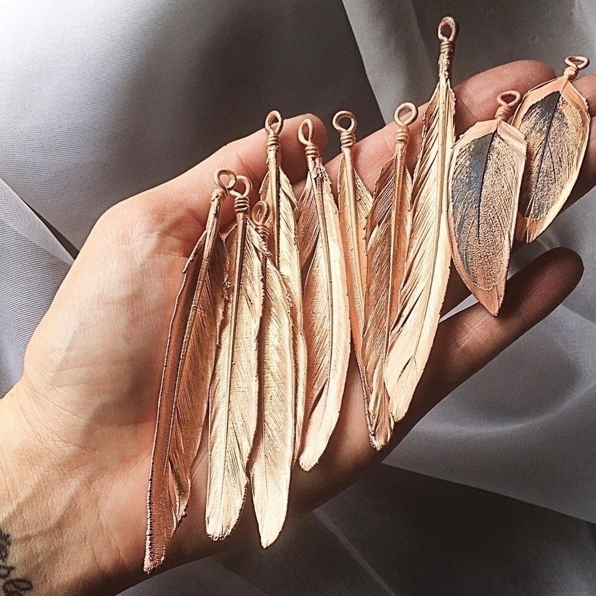 Electroformed feathers fresh ba - amykaeatelier   ello