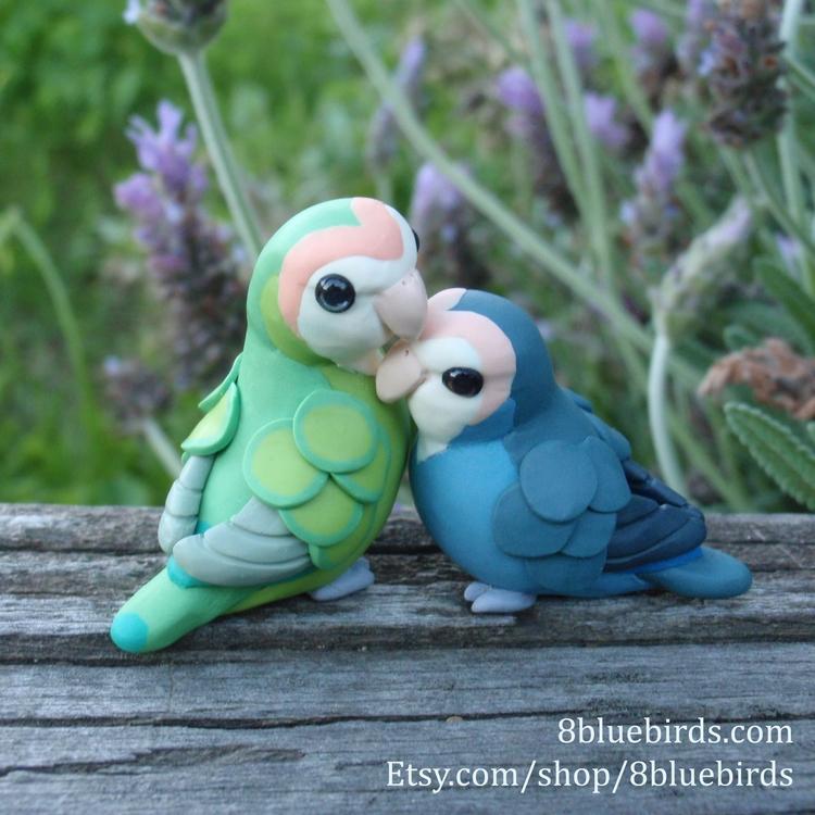 pair lovebird figurines home. a - 8bluebirds_studio | ello