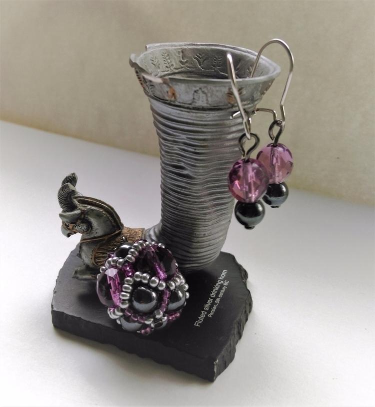 Set pale pink - drop_earrings, crystal_sphere - haleh_creates   ello