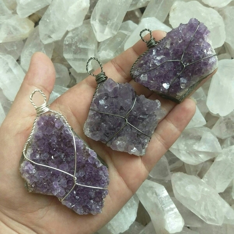amethyst cluster pendants - crystal - tiareina | ello