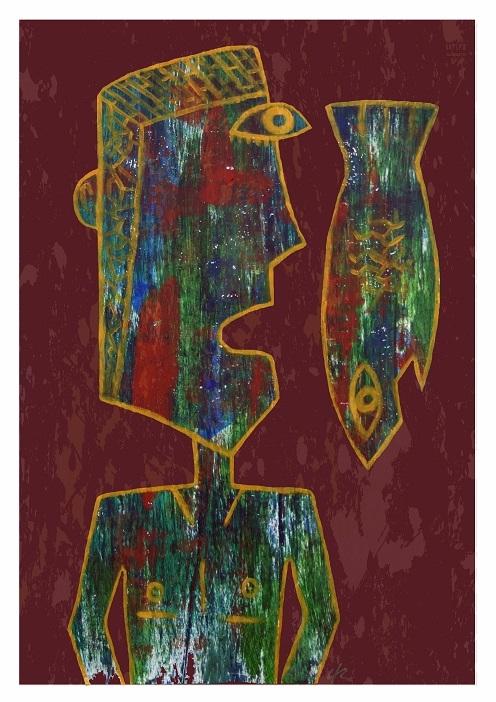 Dive, Fish, A4 Print - print, cubism - clramalhao | ello