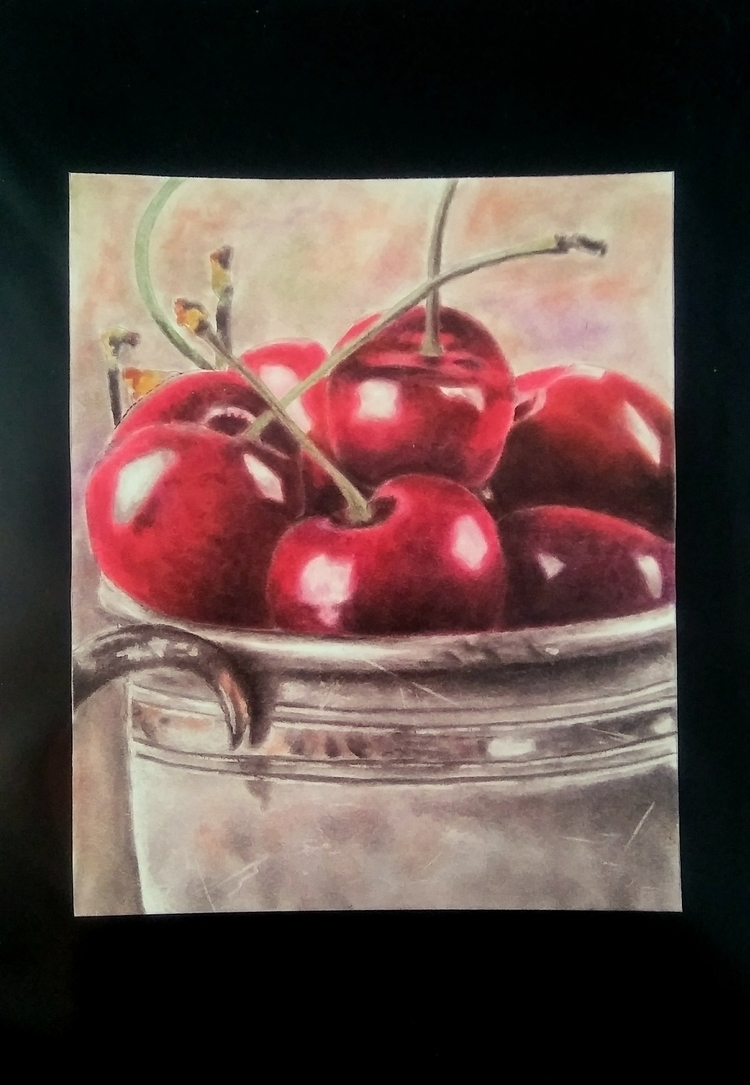 Pastel drawing cherries. sale e - helvetejakthund | ello