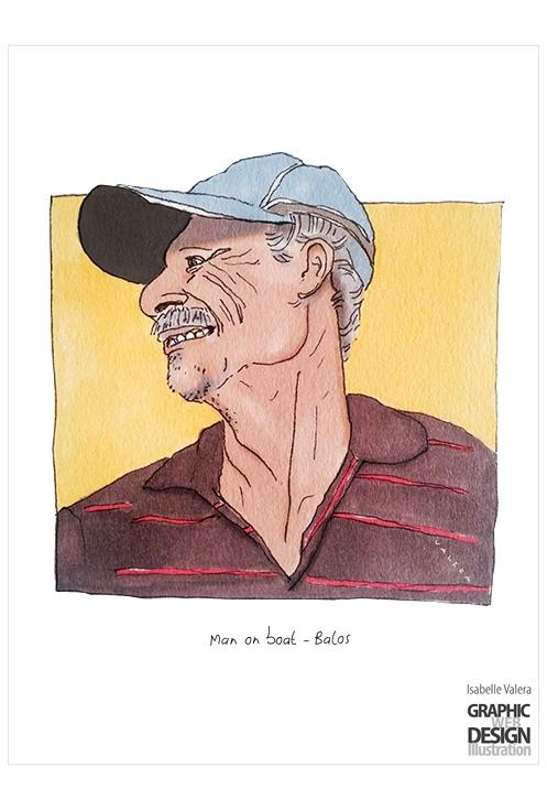 Man boat - Balos, Cretia - illustration - ivalera | ello