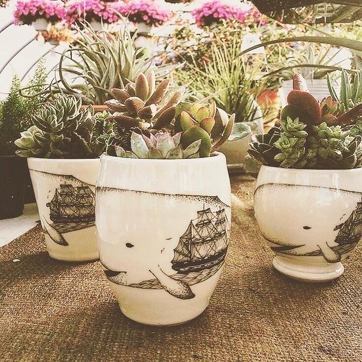 whale planters. time making pla - scrimshawpottery | ello