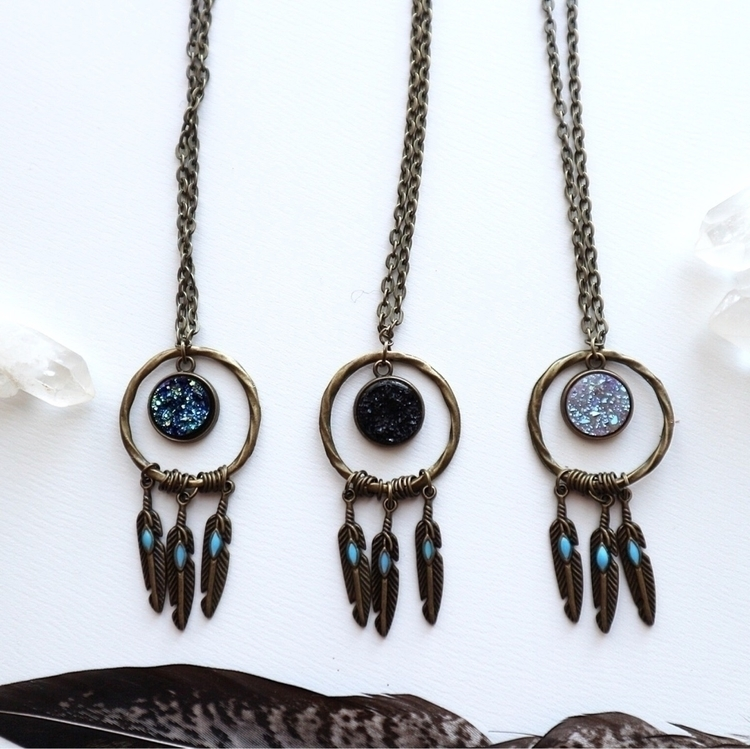 Dreamcatcher Necklaces  - handmade - blackfelidae | ello