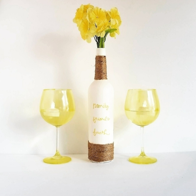 Recycled wine bottle hand paint - thisuniquehome | ello