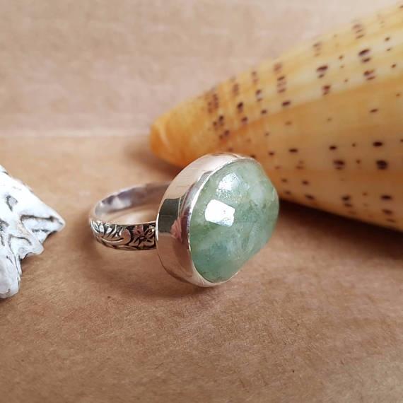 Aquamarine gemstone Ring, Handm - rvtoortje | ello