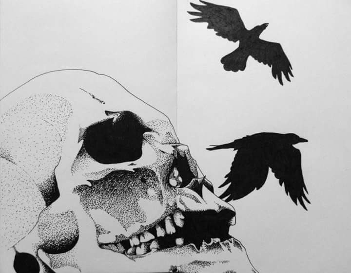 Ink skull drawing - helvetejakthund | ello