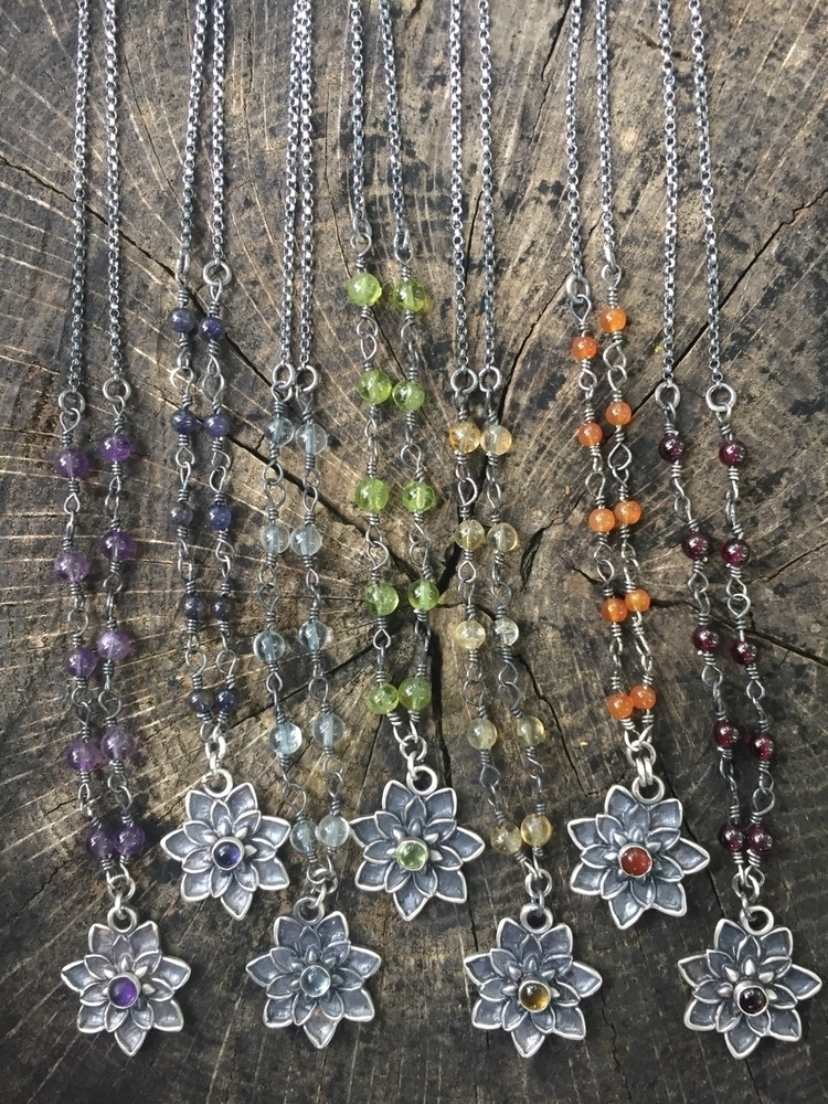 Chakra lotus necklaces, created - chrissygemmilljewels | ello