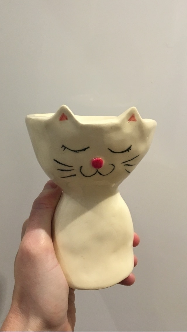 Finished cat pot - pottery#ceramic#cat#pot#handmade#plants# - livingdecortwins | ello