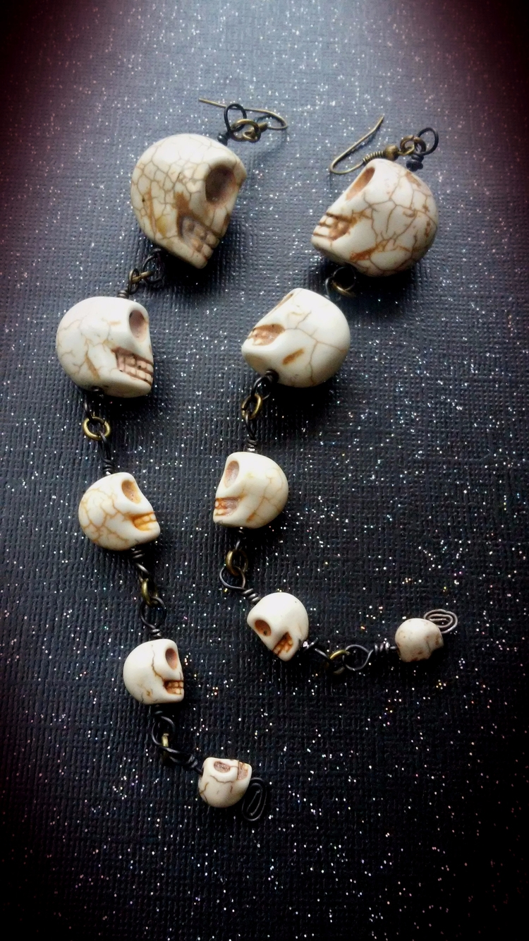 Howlite skull earrings listed s - themoonbeams | ello