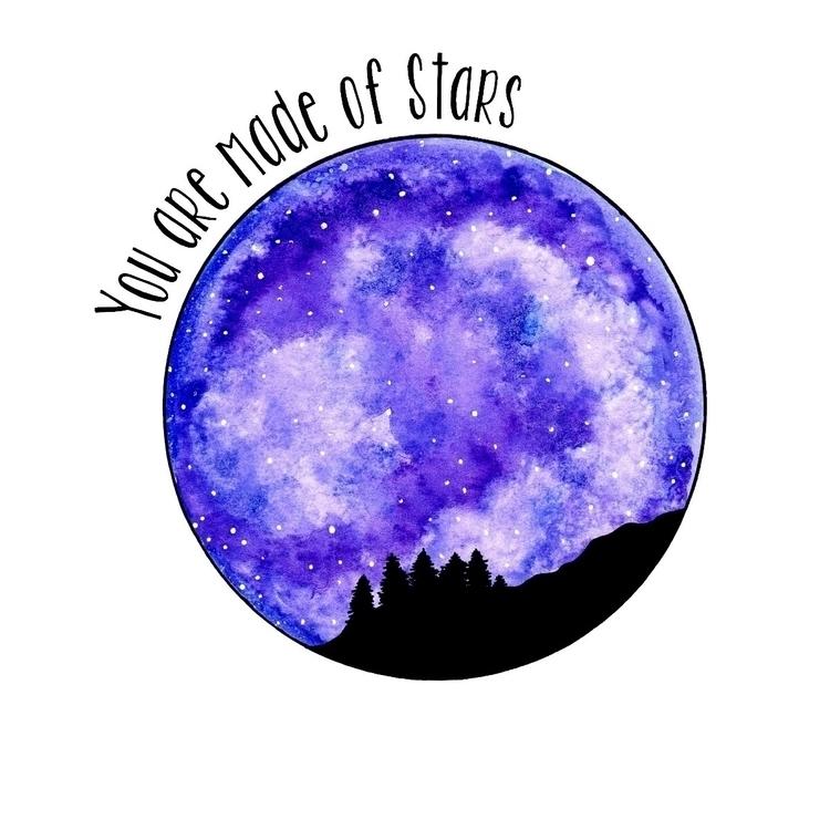 stars ♡ - watercolour, art, purple - moonflux_studio | ello