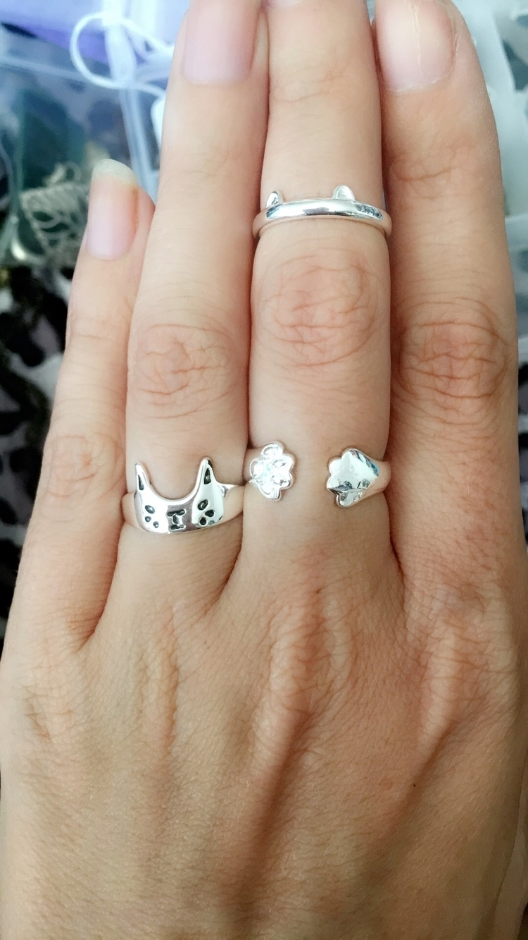 Cat lover set! kitty face ring  - bodycandybycarlie | ello
