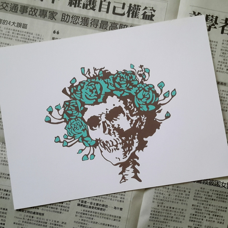 Wet paint ♡ - gratefuldead, skull - initiallybad   ello