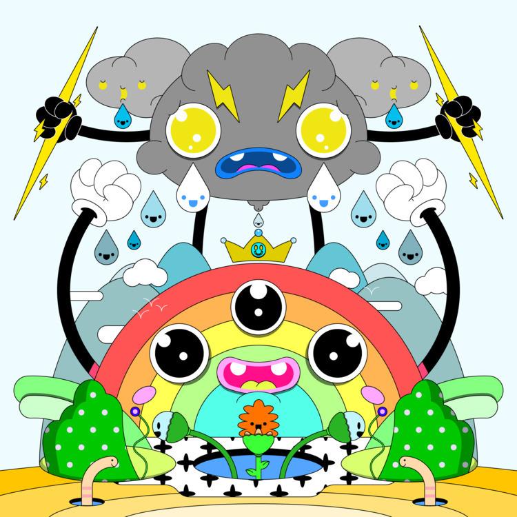 April showers - illustration, trippy - natekogan | ello