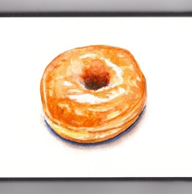 Simple Glazed Donut - watercolor - doodlewash   ello