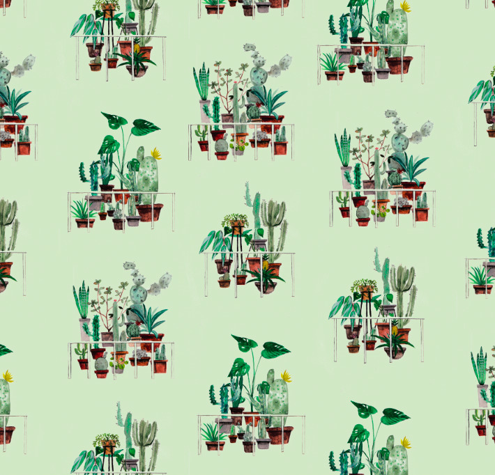 Cactus house - textile,, surfacedesign, - rizotto | ello