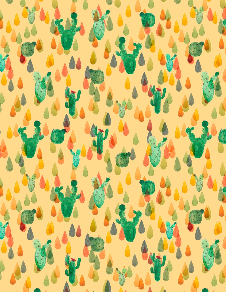 Cactus party - textile,, surfacedesign, - rizotto | ello