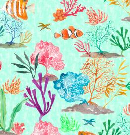 Coral fish - textile,, surfacedesign, - rizotto | ello