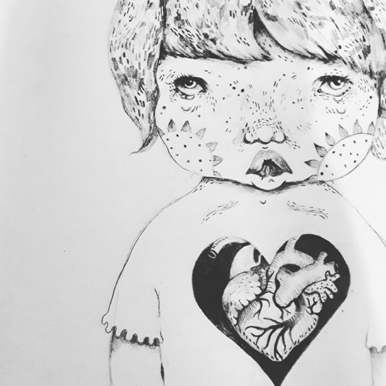heart beat - babyface, blackandwhite - popia_illustration | ello