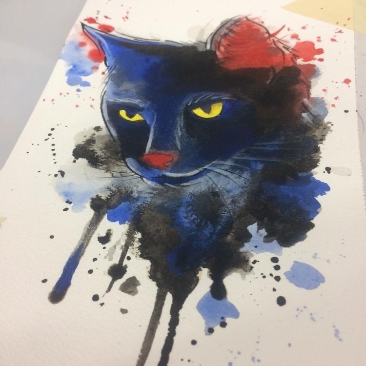 watercolor, cat, painting., blackcat - levigreenacres | ello