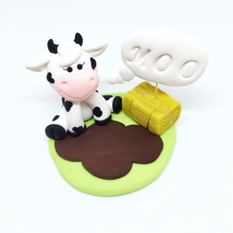 moo cow figurine - polymerclay, art - crazycraftcreations | ello