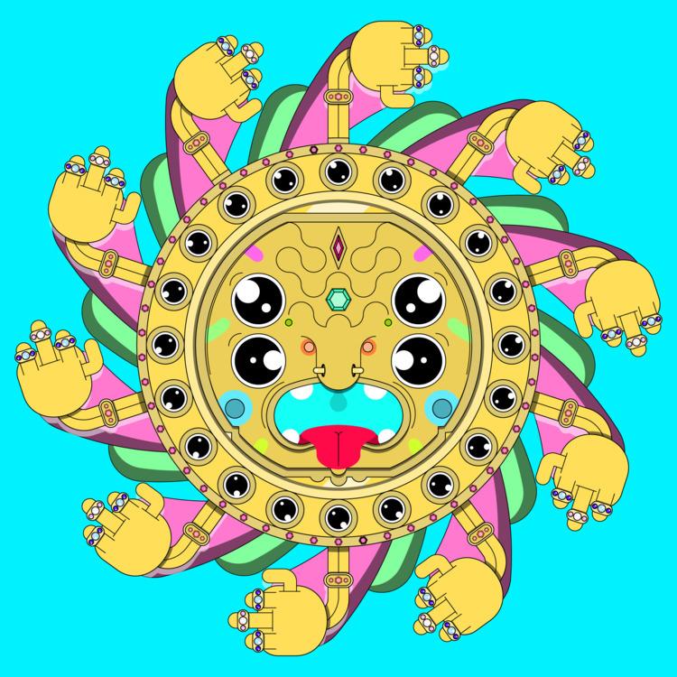 Sun god - illustration, trippy, sun - natekogan | ello