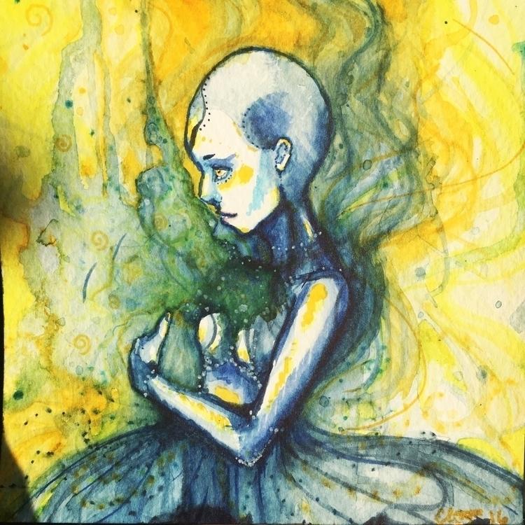 Anxiety 6x6 watercolour piece.  - throughglass | ello