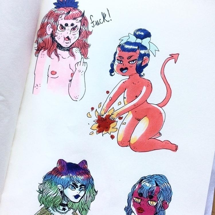 Evil girl - art, evilgirl, illustration - skeenep | ello